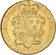 A 5 guinea piece made of Lima gold: George II, 1727-1760. 5 guineas 1746, London. Seaby 3665. From the upcoming Künker auction 258 on January 29, 2015. The piece has been estimated at 10,000 euros.