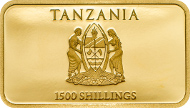 Tanzania / 1500 Shillings / 2014 / Gold .9999 / 0.5 g / 8.5 x 15 mm / Proof / 5000 pieces.