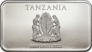 Tanzania / 1000 Shillings / 2014 / Silver .999 / 1 oz / 27 x 47 mm / Proof / 1888 pieces.