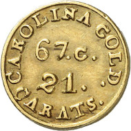 USA / NORTH CAROLINA. 2 1/2 dollars n. d. (1834-1837). CAROLINA GOLD. Issued by Christopher Bechtler. Fb. 8. Very rare. Auction sale Künker 258 (January 29, 2015), 812. Estimated at 7,500 euros.