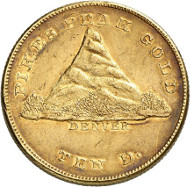 USA / COLORADO. 10 dollars 1860. PIKE'S PEAK GOLD. Issued by Clark, Gruber & Co., Denver. Fb. 19. Very rare. Auction sale Künker 258 (January 29, 2015), 797. Estimated at 20,000 euros.