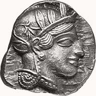 ATHENS. Tetradrachm, 454-406 B.C. Head of Athena r., wearing Athenian helmet; on helmet, three leaves of olive and tendril. Rev. Owl standing r., behind twig with two leaves and fruit. 17, 20 g. Svoronos pl. 16, 5. From sale Münzen & Medaillen Deutschland 9 (October 4 and 5, 2001), 16.
