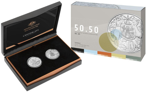 '50.50': a re-issue of the first decimal coin from 1966 and today's 50-cent coin are available in a set.