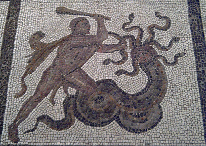 Hercules and the Lernaean Hydra. Mosaic detail, Spain. Source: Luis García / http://creativecommons.org/licenses/by-sa/2.0/deed.en