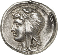 Siculo-Punians. Tetradrachm, 320-313, mobile mint. Jenkins III, 271. Auction Künker 262 (March 13, 2015), 7079, estimated at 25,000 euros.
