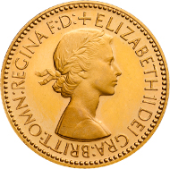 Mary Gillicks' portrait on a gold Sovereign.