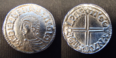 Aethelred type 2 Silver penny of Aethelred II, Last Small Cross type, moneyer Edwi of London. © The Trustees of the British Museum.
