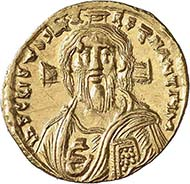 Justinian II, 685-695. Solidus, Constantinople, 692-695. Sear 1448. From auction sale Numismatica Genevensis 4 (2006), 291.