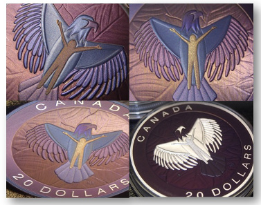 One of the Royal Canadian Mint's first coloured coins produced by using nano technology. © Royal Canadian Mint.