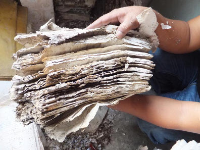 Documents destroyed by the extremes of wet conditions and insect infestations in Mizoram - said to be the wettest place on the planet - northeast India. Endangered Archives Programme. Photography © Dr Kyle Jackson.
