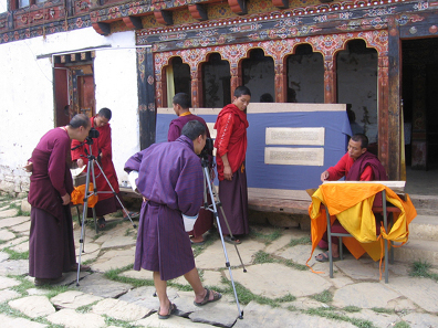 Digitising Buddhist manuscripts from the library of the remote Gangtey Monastery in the Himalayan kingdom of Bhutan. Endangered Archives Project. Photography © Dr Karma Phuntsho.