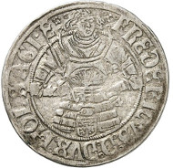 Lot 4128: ZENTINI COLLECTION / SCHLESWIG-HOLSTEIN. Frederick I, 1490-1523-1533. Double shilling 1523, Schleswig. Very rare. Very fine. Estimate: 600,- euros. Hammer price: 5,000,- euros.