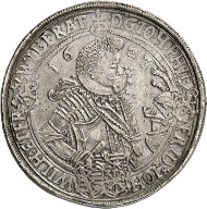 Lot 4461: BRETSCHNEIDER COLLECTION / SAXE-ALTENBURG. John Philip, Frederick, John William and Frederick William II, 1603-1625. Double reichsthaler 1623, Saalfeld. Extremely rare. Very fine to extremely fine. Estimate: 4,000,- euros. Hammer price: 16,000,- euros.