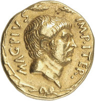 Lot 7818: ROMAN REPUBLIC. Sextus Pompey, + 35. Aureus, 37/6, Sicilian mint. Illustrated in Bahrfeldt, ZfN 28 (1896), pl. X. 231. Very rare. Good very fine. Estimate: 100,000,- euros. Hammer price: 157,500,- euros.