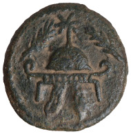 Herod the Great (40-4 BC), bronze coin, minted in Samaria 37 BC. Obverse: helmet flanked by two palm branches. Reverse: bowl on a tripod; Greek: of King Herod. © Israel Museum, Jerusalem. Helmet and palm branches symbolize Herod's power and his victory over the last ruler from the Hasmonean dynasty.