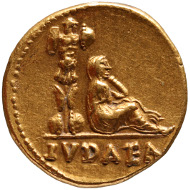 Vespasian (AD 69-79). Aureus, minted in Rome AD 69-70. Obverse: Bust of Vespasian with laurel wreath facing right. Reverse: Mourning Judea seated beside a Tropaion. © KHM.
