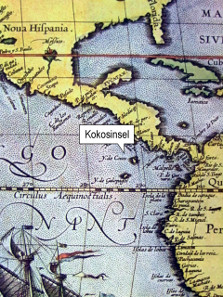 Cocos Island, detail of the atlas 'Theatrum orbis terrarum' by Abraham Ortelius, printed in Antwerp in 1592.