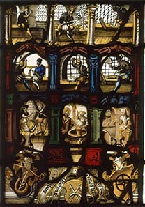 Glass painting from the Schaffhausen mint depicting the operations in a minting workshop. Made in 1565, it is today housed in the Münzkabinett der Staatlichen Museen zu Berlin, and on display in the Bode Museum, room 241.