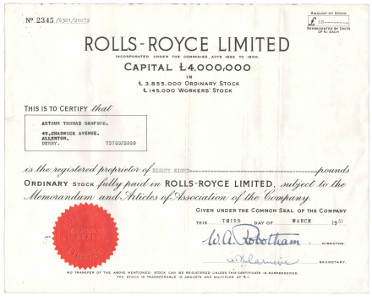 Share of Rolls-Royce.