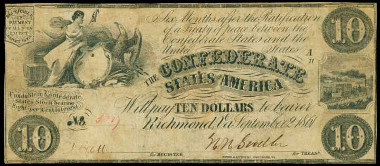 T-27. Confederate Currency. 1861 $10. PCGS Very Fine 25 Apparent. Hole Punch Cancelled, Cancellations Rebuilt, Design Redrawn. Price Realized: $8,812.50.