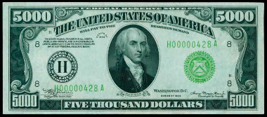 Fr. 2221-H. 1934 $5000 Federal Reserve Note. St. Louis. PMG Choice Uncirculated 64 EPQ. Price Realized: $258,500.00.