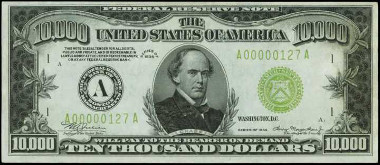 Fr. 2231-A. 1934 $10,000 Federal Reserve Note. Boston. PMG Choice Uncirculated 64 EPQ. Price Realized: $223,250.00.