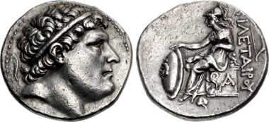 Kings of Pergamon. Philetairos. 282-263 BC. Tetradrachm. Pergamon mint. Struck circa 269/8-263 BC. Westermark Group II, dies V.11/R.1 (Eumenes I); SNG France 1603 (Eumenes I); SNG von Aulock 1957 (same dies; Eumenes I). Good VF, toned. From the Elwood Rafn Collection. Price: $1450.