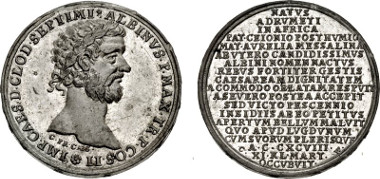 Roman Imperial. Clodius Albinus. AD 195-197. WM Medal. Kaiser-serie. By Christian Wermuth and studio, fl. 1686-1739. Cf. Forrer VI, p. 437 (for series). EF. Price: $245.