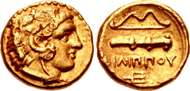 KINGS of MACEDON. temp. Philip II - Alexander III. Circa 340/36-328 BC. Quarter Stater. Le Rider 76 (D51/R36'); SNG ANS 224; NAIM-BAN 61 (same dies). Good VF. CNG 99, Lot 68. Estimate: $1,000.