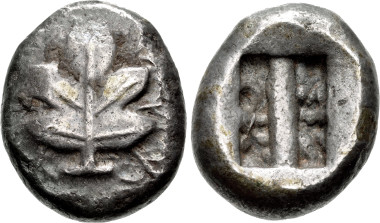ISLANDS off CARIA, Rhodos. Kamiros. Circa 500-480 BC. Stater. SNG Keckman 317; HGC 6, 1382. Near VF, toned. CNG 99, Lot 272. Estimate: $1,000.