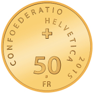 Switzerland / 2015 / 50 Swiss Francs / gold 0.900 / 11.29 g / 25 mm / Mintage: 5,000 (Polished proof in presentation case).