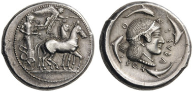 11: Syracuse. Gelon I, 485-478 BC. Tetradrachm, c. 485-483. Boehringer 45. Rizzo pl. XXXIV, 10 and 22. Very rare. Extremely fine. Estimate: 75,000 CHF. Hammer price: 85,000 CHF.