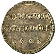 Emergency coin, issued on the occasion of the Siege of Nice in 1543.