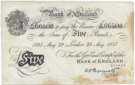 Operation Bernhard: imitation of a British 5 pound 1935 Bank of England banknote made in Germany during WWII, 133.0 x 210.0 mm.