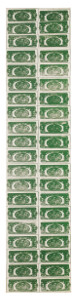 Andy Warhol, Two Dollar Bills (Back) (40 Two Dollar Bills in Green), 1962. Silkscreen ink and pencil on linen, 211 x 48 cm. £5,000,000-7,000,000 © Sotheby's