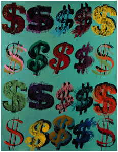 Andy Warhol, Dollar Signs, 1981. Acrylic over colour silkscreen on canvas, 228 x 177 cm. £4,500,000-6,500,000. © Sotheby's