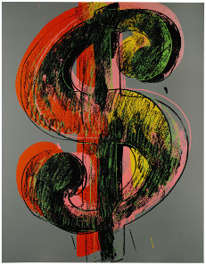 Andy Warhol, Dollar Sign, 1981. Acrylic and silkscreen ink on canvas, 229 x 178 cm. £4,000,000-6,000,000. © Sotheby's