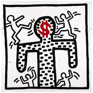 Keith Haring, Untitled, 1982. Baked enamel on metal, 109.2 x 109.2 cm. £250,000-350,000. © Sotheby's