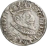 No. 3905. POLAND. Sigismund III. Dreigröscher 1593, Marienburg. Kopicki 962 (R6). Very fine to extremely fine. Estimate: 150 Euros. Realized price: 2,070 Euros.