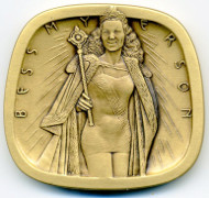 Bess Myerson Jewish-American Hall of Fame 2-inch bronze art medal, designed by Alex Shagin.
