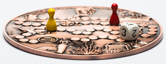 Unheard-of: The Treasure Game Coin serves as game board for an exciting treasure hunt.