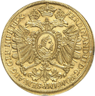 Lot 3765: GERMAN STATES / NUREMBERG. 6 ducats 1631 with title of Ferdinand II. Very rare. Nearly FDC. Estimate: 60,000,- euros. Hammer price: 80,000,- euros.