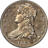 10108: 1839-O Capped Bust Half Dollar. Reeded Edge. HALF DOL. GR-1. Repunched Mintmark. Branch Mint Specimen-62 (PCGS). Price Realized: $105,750.