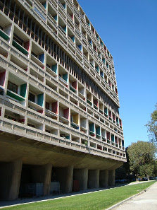 Le Corbusier's project Housing Unit at Marseille. Photograph: Wikipedia / Anapuig. https://creativecommons.org/licenses/by-sa/3.0/deed.en