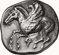 CORINTH. Stater, 500-485 BC. Pegasus with curved wings flying to l. Rev. Small quadripartite incuse. 8,46 g. Ravel I, 54, 80 (same dies). BMC 2, 19 (same dies).