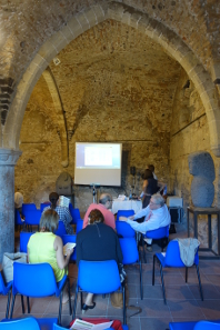 The ICOMON Round Table was held in a medieval keep. With the temperature rising inside, the numismatists changed location and moved to the garden. Photograph: UK.
