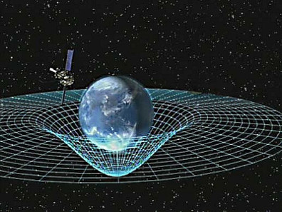 Artist concept of Gravity Probe B orbiting the Earth to measure space-time, a four-dimensional description of the universe including height, width, length, and time. Source: Wikicommons / NASA.