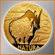 Best Gold: South Africa - 100 Rand, gold, White Rhino