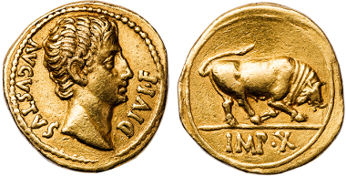 Gold coin of Augustus, from a rare 12 Caesars collection, courtesy of Thomas Tesoriero. Photograph: Alex Marincescu.