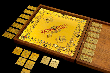 18-karat gold and jewel encrusted Monopoly set by Sidney Mobell, courtesy of the Smithsonian National Museum of Natural History.